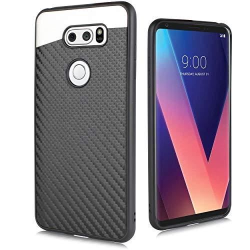 (Compatible for LG V30, LG V30 Plus, V30S, V35 2017 (Sprint, Verizon, T-Mobile etc) Carbon Fiber Metal Car Mount Built in Magnet Plate Backing Shockproof Slim Case (Black))
