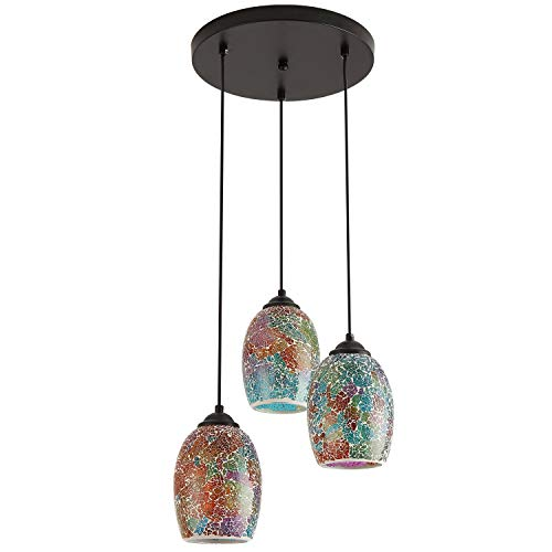 Modern Kitchen Island Lighting, Hand Crafted Mosaic Colored Glass Shade Hanging Ceiling Lights,3 Lights Round Base Multi Pendant Lighting for Kitchen Island Dining Room Living Room Table (Colored Kitchen Lights Pendant)