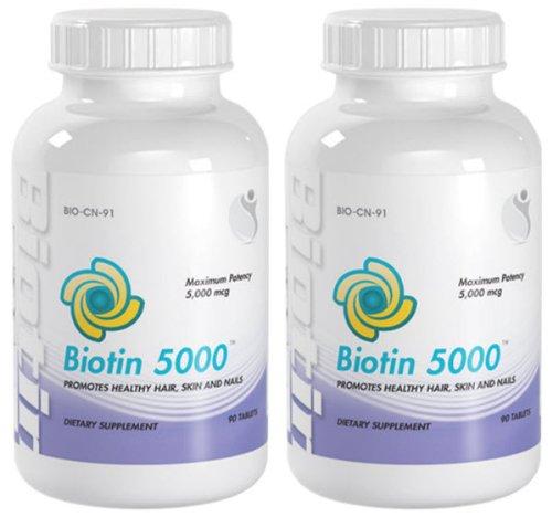 Biotine 5000 cheveux sains, peau et ongles super Force Biotin 5000 mcg 180 Comprimés 2 Bouteilles