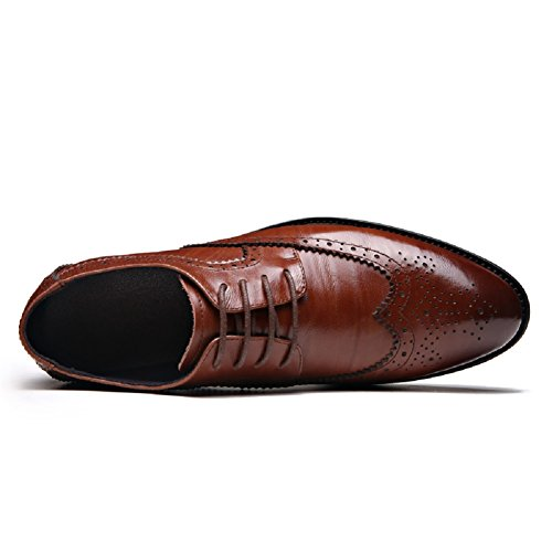 Scarpe Brogue Stringate Oxfords Eleganti Uomo YORWOR Pelle Formali Marrone in qnTBUa6Ew