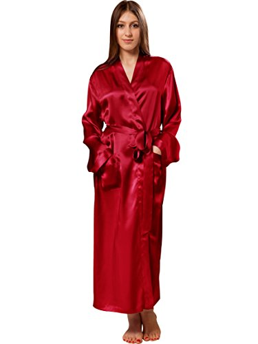 Wine Pure Silk (ElleSilk Women's Long Silk Robe, Pure Mulberry Silk Sleepwear, Machine Washable, Wine, XS)