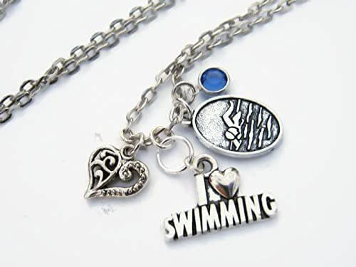 swimmer jewelry personalized i swimming necklace swimmer 5122
