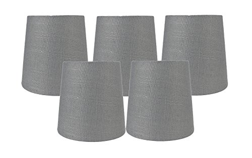 Fabric Chandelier Lamp - Meriville Set of 5 Graphite Linen Clip On Chandelier Lamp Shades, 4-inch by 5-inch by 5-inch
