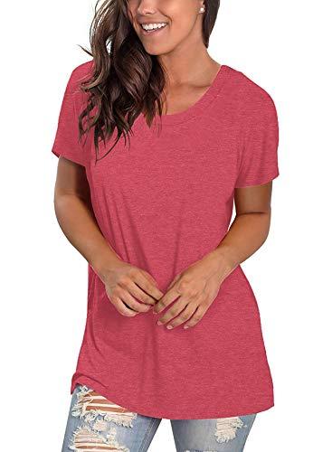 SHIBEVER Women V Neck Tops Long Sleeve/Short Sleeve Loose Tunic Tee Shirts T Shirt