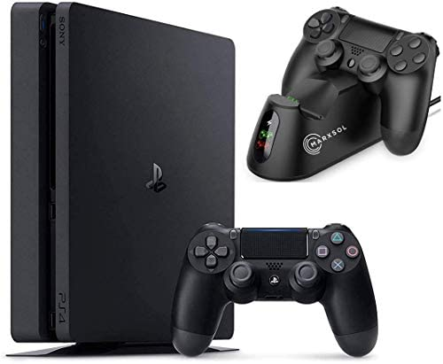 2021 Sony Playstation 4 1TB Console - Black PS4 Slim Edition with 1TB Storage Holiday Bundle: 1 DualSurprise Wireless Controller + Marxsol Dual PS4 Controller Fast Charging Dock