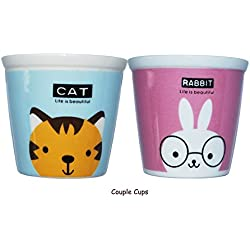 Animal Cup Set for Coffee, Tea,Milk& Drinking, SHINEPA Fine Porcelain Mug Set of 2, Microwave Wash Machine Safe Ceramic Cup Set For Kids& Adults(Cat&Rabbit)