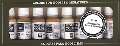 Vallejo Face/Skin Colors Paint Set, 8-Colors, 17ml