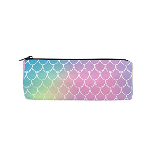 ALAZA Mermaid Scale Rainbow Pencil Pen Case Pouch Bag with Z