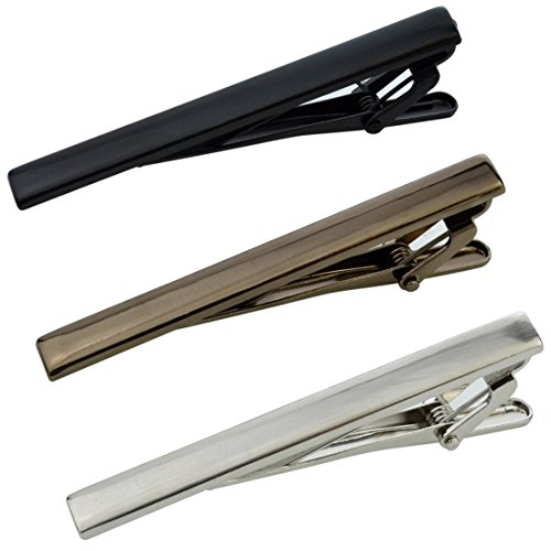 3pcs Tie Bar Clip, Lystaii Fashion Necktie Clips Bar Pinch Clasps Tie Pins for Men Christmas Gifts