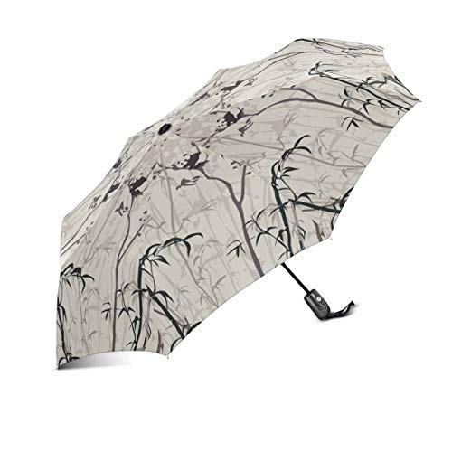 InterestPrint Vintage Funny Panda in The Bamboo Forest Windproof Automatic Folding Travel Umbrella, Lightweight Compact Auto Open Close Umbrella UV Protection