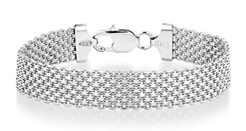 Miabella 925 Sterling Silver Italian 12mm Solid Mesh Link Chain Bracelet for Women Men, 6.5, 7, 7.5, 8 Inch Made in Italy (7.5)