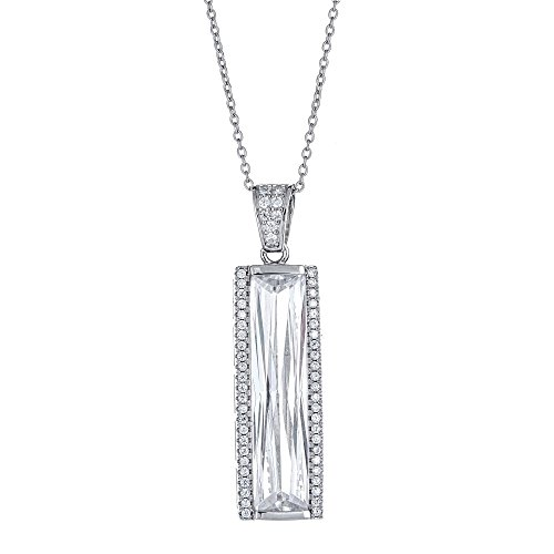 (Platinum Plated 925 Sterling Silver Baguette CZ Vertical Rectangle Bar Pave Pendant Necklace)