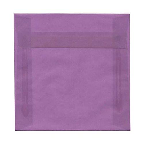 (JAM PAPER 6.5 x 6.5 Square Translucent Vellum Envelopes - Purple - 25/Pack)