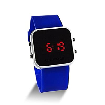 YKS Blue Luxury Sport Style LED Digital Watch With Mirror Surface Silicone for Lady Men