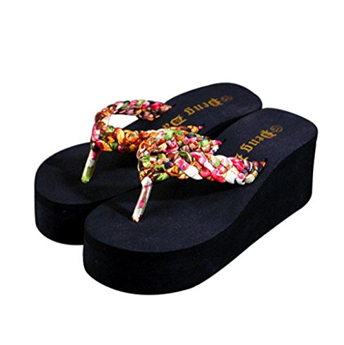 Elevin (tm) Dames Zomer Indoor Outdoor Open-toe Sandalen Slipper Flat Flip-flops Beach Shoes Bruin1