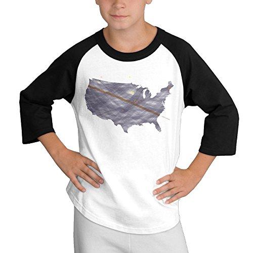 HyRag Total Solar Eclipse Of Aug 21, 2017 Youth Boy's Raglan Tee 3/4 Sleeve Baseball T-shirt Black for $<!--$17.50-->