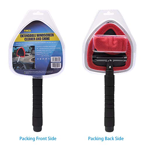 AutoEC Windshield Cleaner, Extendable Handle Window Cleaner Brush Kit,Car Window Windshield Wonder Cleaning Wash Tool Fluid Inside Interior Auto Glass Wiper Includes 2 Washable and Reusable Pads by AutoEC (Image #8)
