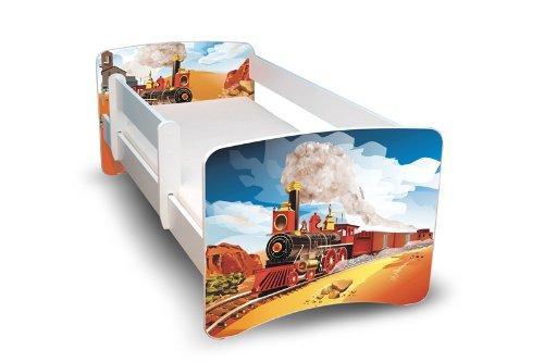 Best For Kids KINDERBETT 80x160 MIT RAUSFALLSCHUTZ (Eisenbahn)