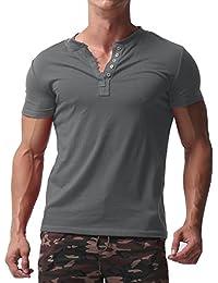 Men's Short Sleeve Shirts Button V Neck Tee Slim Fit Contrast Placket Tops