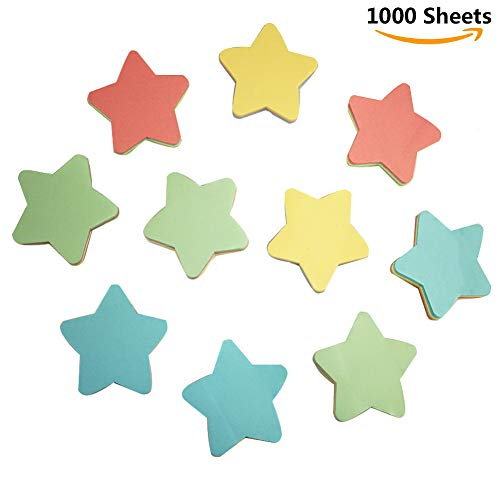 (Sticky Notes Star Shaped Sticker Funny Memory Pad Sticker Star Shaped Multiple Color Note Pad 1000 Sheets)