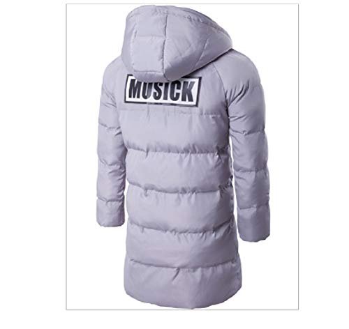 Jacket Thickening Cotton Hooded Mid Length EnergyMen Solid Parka Grey 0TFgqnxS