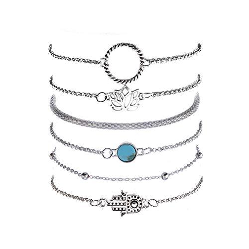 DONGMING 6pcs/Set Vintage Multilayer Beads Chain Bracelet Set Lotus Flower Palm Bohemian Turquoise Charms Bangle Bracelets Adjustable