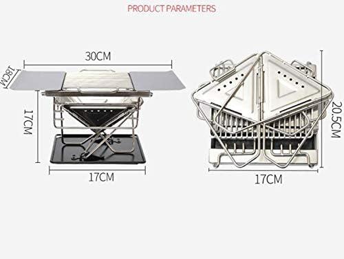 Extérieur 1-2 Personnes Portable Barbecue Grill Poêle Roast, Ménage de Pique-Nique Cuisinière à Bois Bois Charbon Poêle, Durable Rack Grill en Acier Inoxydable