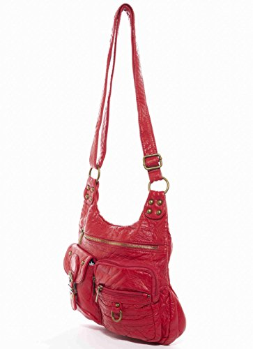 Tote Red Handbag Aria Leather The Creations Ampere Vegan Hobo Soft Crossbody by qIxBwTPgw