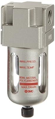 SMC AFD Series Mist Separator, Removes Oil Mist, Polycarbonate Bowl with Bowl Guard, NPT