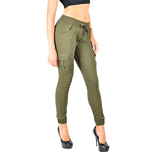 Fashionable Women's Khaki Green Cargo Pants