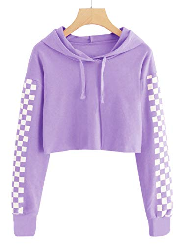 Imily Bela Kids Crop Tops Girls Hoodies Cute Plaid Long Sleeve Fashion Sweatshirts Purple (Girls Size 10 Crop Top)