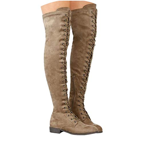 Sexy Lace Up Over Knee Boots Women Flats Shoes Woman Suede Long Boots Thigh High Boots,Khaki,8