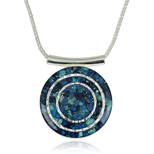 Unique Shades of Blue Gemstone Pendant 925 Sterling Silver Cluster Necklace, 18