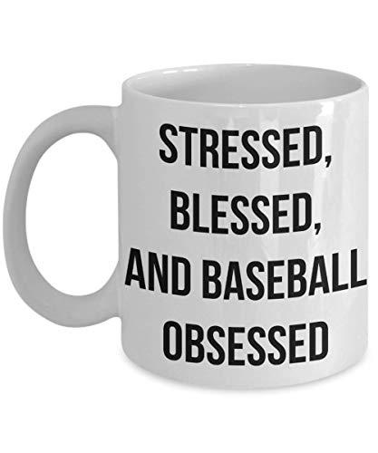PixiDoodle Obsessed Baseball Fan Coffee Mug (11 oz, White) ()