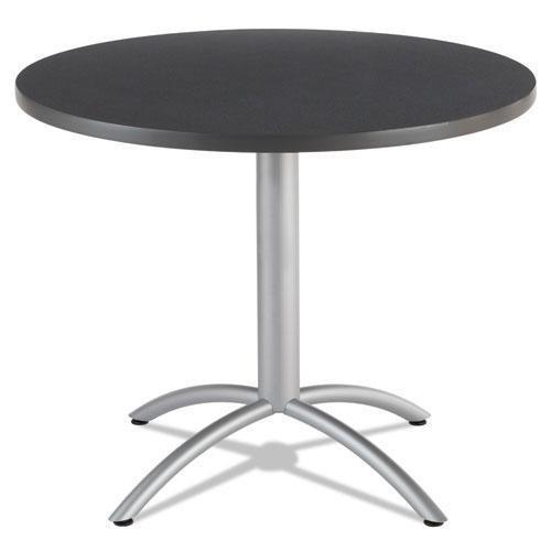 (Iceberg 65628 CaféWorks Table, 36 Dia x 30h, Graphite Granite/Silver)