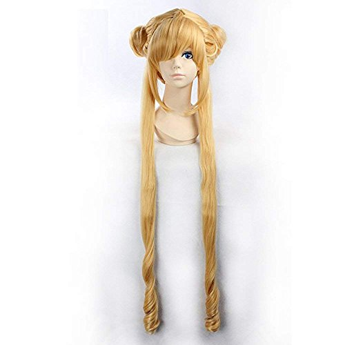 New!! Sailor Moon Wig Flax gold Long Curly Anime Cosplay Wigs 100cm Party Costume Hair