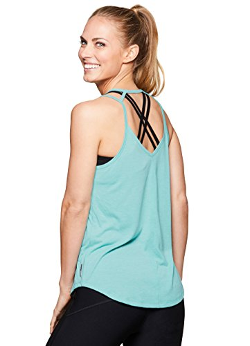 - RBX Active Yoga Strappy Keyhole Back Tank Top Keyhole Blue L