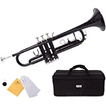 Mendini by Cecilio MTT-BK Trumpet, Black, Bb
