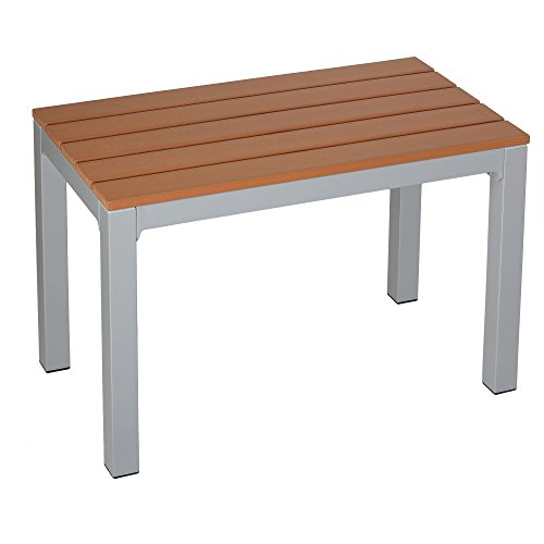 Avery Aluminum Outdoor Bench in Poly Wood, Silver/Teak (Staining Outdoor Wood)
