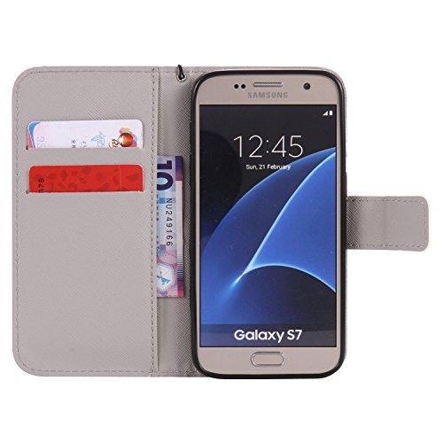 PU Galaxy S7Funda Flip Cover de Piel para Samsung Galaxy S7Flip Cover Funda Libro Con Tarjetero Función Atril magnético + Polvo Conector marrón 7 8