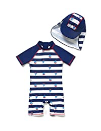 BONVERANO Baby Boys Sunsuit UPF 50+ Sun Protection One Piece Swimsuit with Zipper