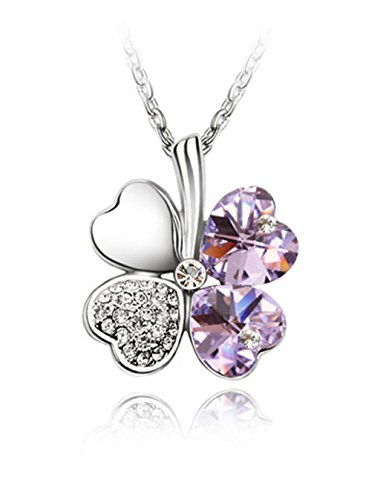 Dahlia Four Leaf Clover Heart Shaped Elements Crystal Rhodium Plated Pendant Necklace - Lavender