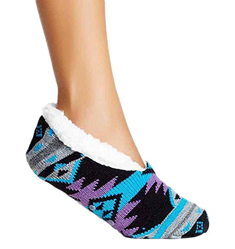 Charles Albert Womens Cozy & Comfortable Womens Slipper Socks (Medium/Large - Fits Shoe Sizes 8-10.5, Black Aztec)