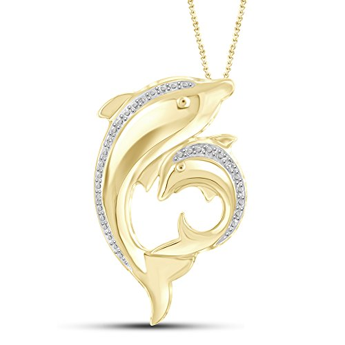 - White Diamond Accent 14kt Gold Plated Brass Dolphin Pendant