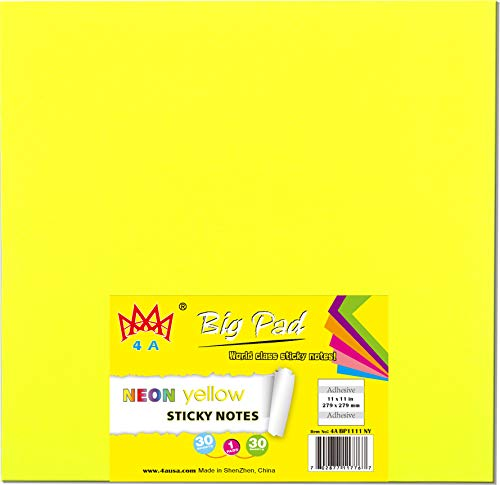 4A Sticky Big Pad,11 x 11 In,Large Size,Neon Yellow,Self-Stick Notes,30 Sheets/Pad,1 Pad/Pack,4A BP1111 NY