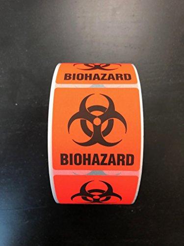Biohazard Warning Label Sticker, 500 Labels, 2