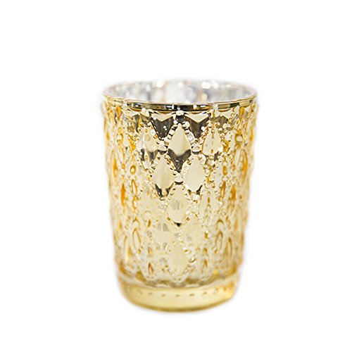 Event Decor Direct 3 1/2 Glam Small Diamond Etched Mercury Glass Candle/Votive Holder - Gold - 6 Pack
