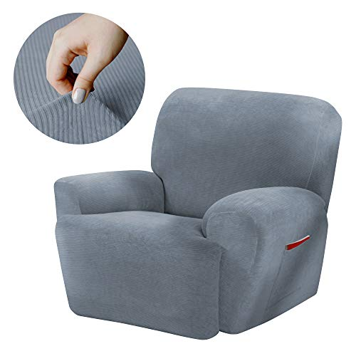 Maytex Collin Stretch 4 Piece Recliner Chair Furniture Cover Slipcover, Blue (Ice Blue Upholstery)