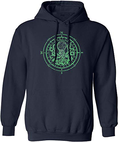 Joe's USA Koloa Octopus Logo Hoodie-Hooded Sweatshirt-Navy/Green-L (Octopus Sweatshirt)