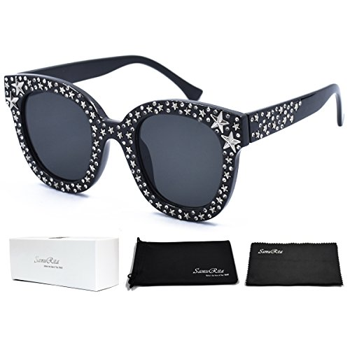 SamuRita Vintage Star Rhinestone Cat Eye Sunglasses Novelty Celebrity Shades(Black) -